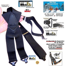 Load image into Gallery viewer, Holdup XL All Black Ski Ups X-back HD Suspenders with Patented Jumbo Gripper Clasps