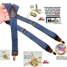 "Load image into Gallery viewer, Holdup Suspenders Y-back Dark Blue Denim Suspenders are 1 1/2"" wide and these feature Gold tone Patented No-slip Clips"