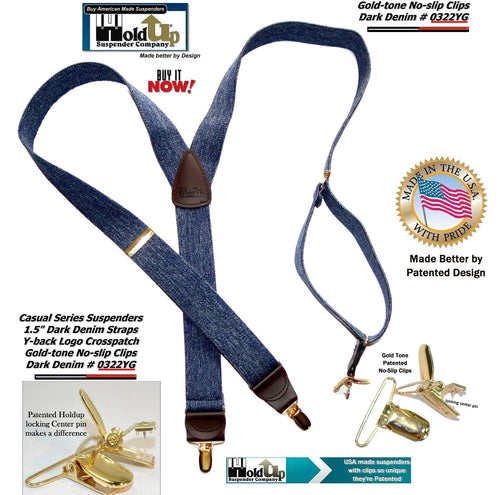 Holdup Suspenders Y-back Dark Blue Denim Suspenders are 1 1/2