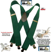 Load image into Gallery viewer, Holdup Brand Heavy Duty Dark Green X-back Work Suspenders with patented  Jumbo No-Slips Clips