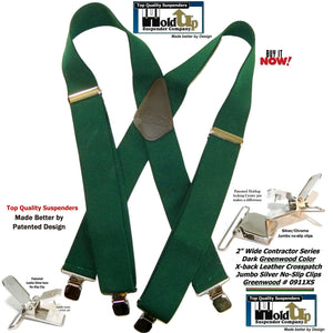Holdup Brand Heavy Duty Dark Green X-back Work Suspenders with patented  Jumbo No-Slips Clips