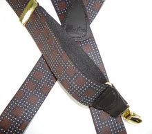 "Load image into Gallery viewer, Hold-Ups City Lights Pattern X-back 1 1/2"" wide Suspenders with Patented gold tone No-slip Gold Clips"