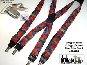 "Hold-Ups Collage Pattern 1 3/8"" wide Suspenders in X-back and Patented No-slip Nickel Clips"