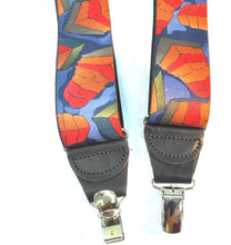 "Load image into Gallery viewer, Hold-Ups Collage Pattern 1 3/8"" wide in Y-back and Patented No-slip Nickel Clips"