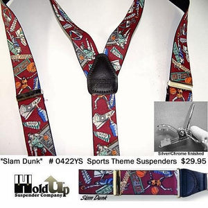 Hold-Ups Slam Dunk Basketball Pattern Y-back Suspenders with no-slip Silver Clips
