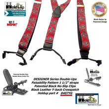 "Load image into Gallery viewer, Holdup USA made Red and Blue ""Paisability"" Pattern Designer Series Y-back Suspenders with Dual black Patented No-slip clips"