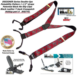"Holdup USA made Red and Blue ""Paisability"" Pattern Designer Series Y-back Suspenders with Dual black Patented No-slip clips"