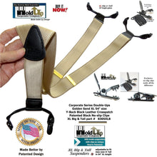 Load image into Gallery viewer, Double-Up XL version of Satin Finished Golden Sand Tan Y-back Holdup Suspenders with Patented No-slip clips