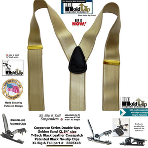 Double-Up XL version of Satin Finished Golden Sand Tan Y-back Holdup Suspenders with Patented No-slip clips