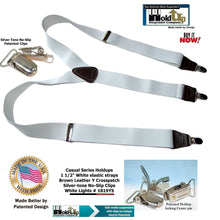 "Load image into Gallery viewer, Hold-Up Brand White, 1 1/2"" wide Casual Series in Y-back style Suspenders with Patented No-slip silver tone clips"