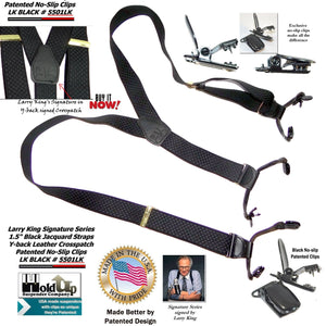 Larry King Signature Series Black Jacquard Double-Up Holdup Suspenders with patented No-slip Clips