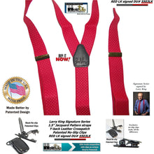 Load image into Gallery viewer, Larry King Signature Series Red Jacquard Double-Up Holdup Suspenders made in the USA