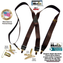 "Load image into Gallery viewer, Hold-Ups French Horn Pattern 1 3/8"" wide Suspenders in X-back and Patented No-slip Gold Clips"