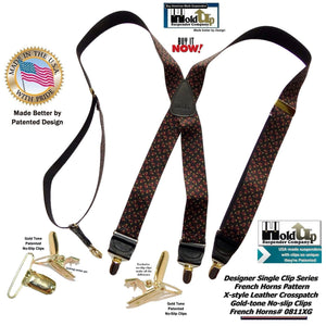 "Hold-Ups French Horn Pattern 1 3/8"" wide Suspenders in X-back and Patented No-slip Gold Clips"