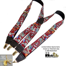 Load image into Gallery viewer, Hold-Ups Slam Dunk Basketball Pattern X-back Suspenders Gold Clips
