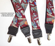 Load image into Gallery viewer, Hold-Ups Slam Dunk Basketball Pattern X-back Suspenders Nickel no-slip patented Clips