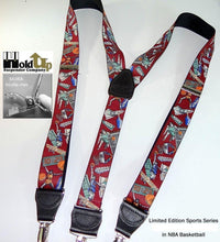 Load image into Gallery viewer, Hold-Ups Slam Dunk Basketball Pattern Y-back Suspenders with no-slip Silver Clips