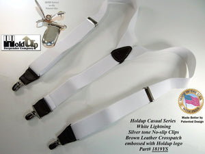 "Hold-Up Brand White, 1 1/2"" wide Casual Series in Y-back style Suspenders with Patented No-slip silver tone clips"