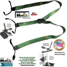 Load image into Gallery viewer, Hold-Ups Formal Series Verde Green Satin Finished Double-Up Style narrow Suspenders