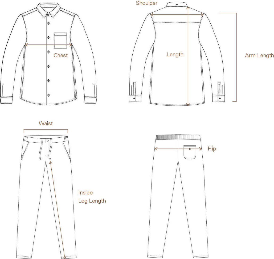 Size Guide for Men's Shirts, T-Shirts, and Relaxed Pants