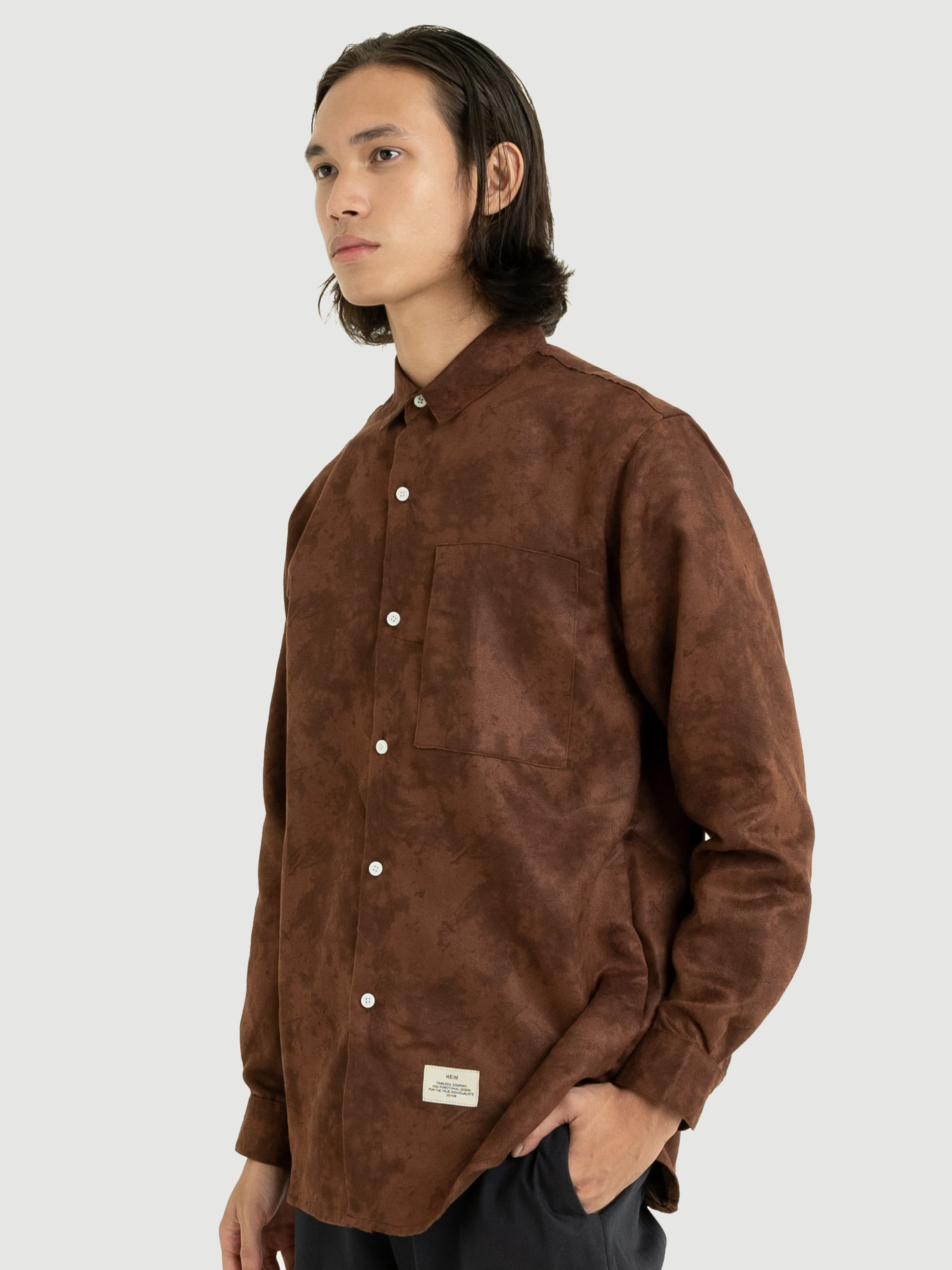 Classic Dark Brown Suede Shirt