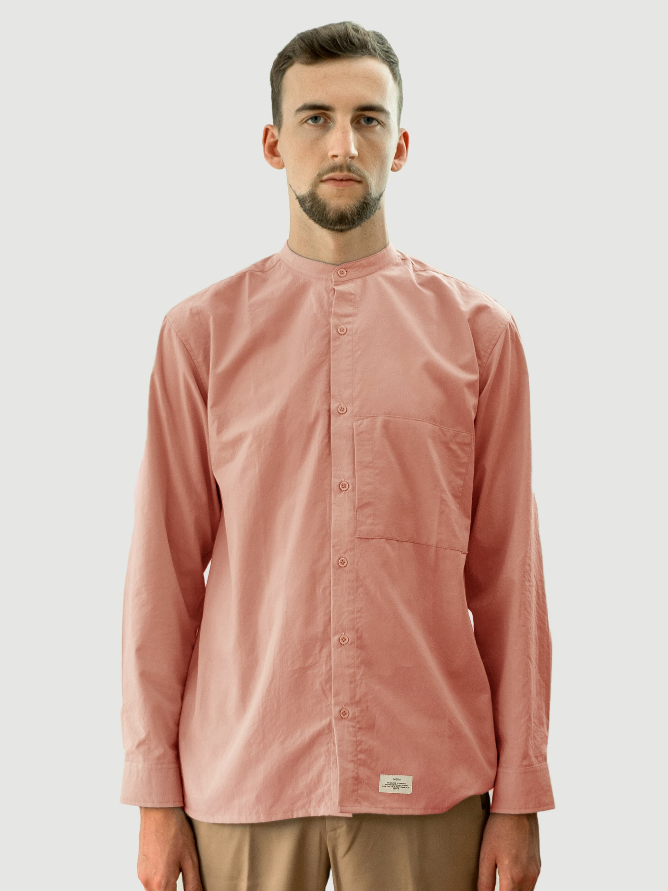 Common Collarless Salmon Cotton Shirt