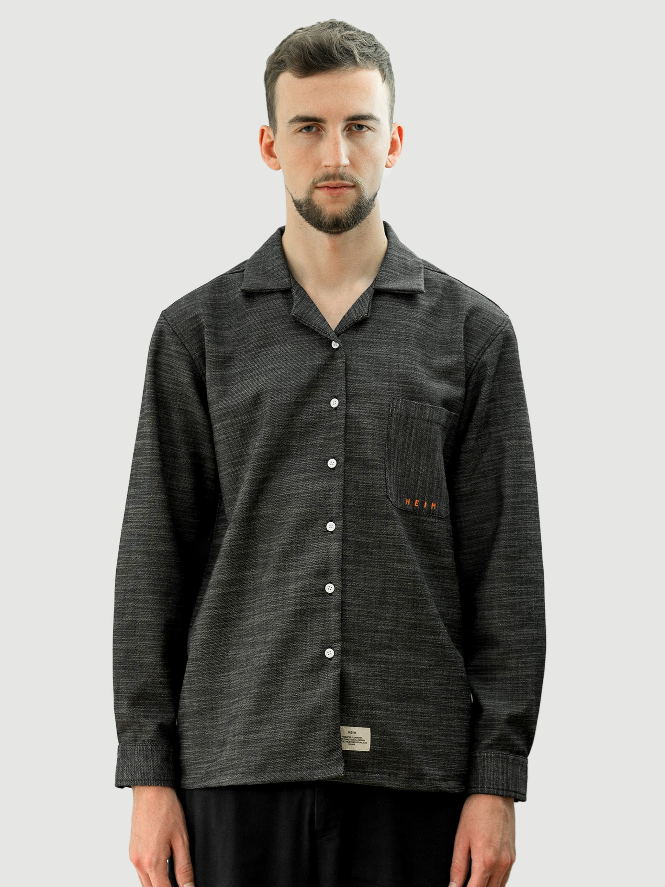Easy Coal Wool Long Shirt