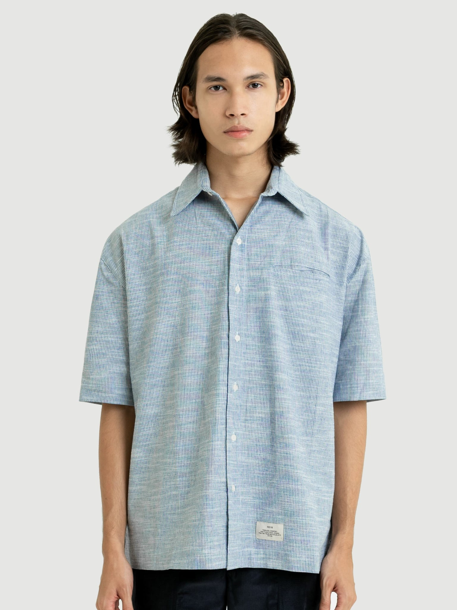 Oversized Textured Blue Shirt