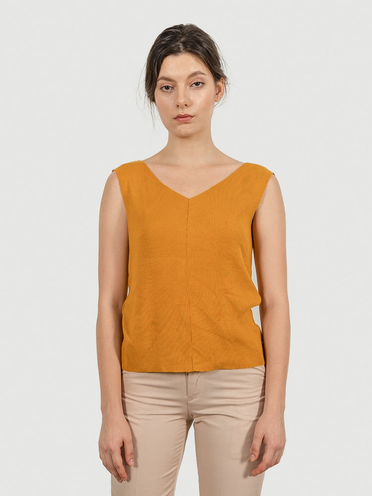 Raw Cut Mustard Knit Top
