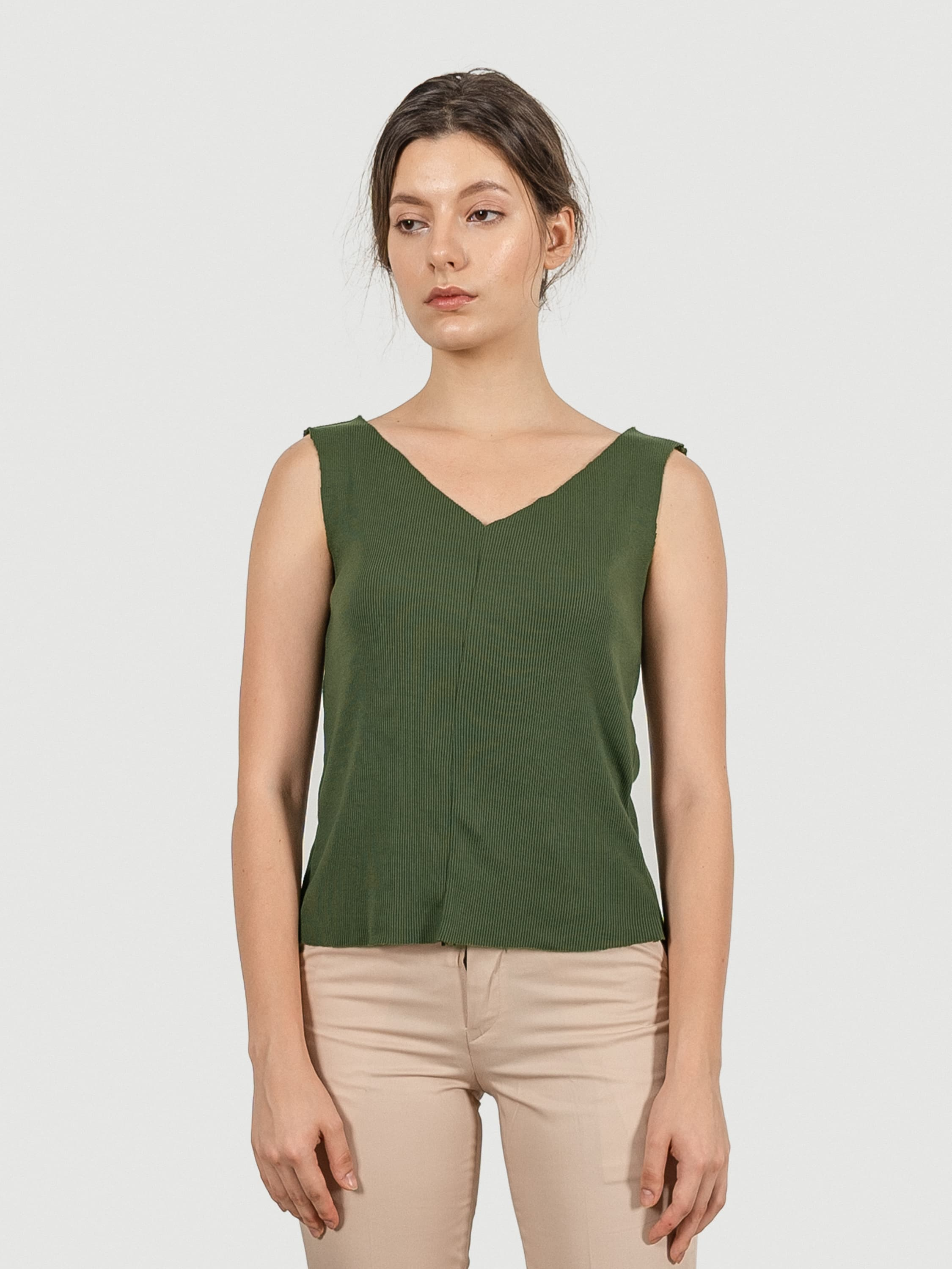 Raw Cut Olive Knit Top