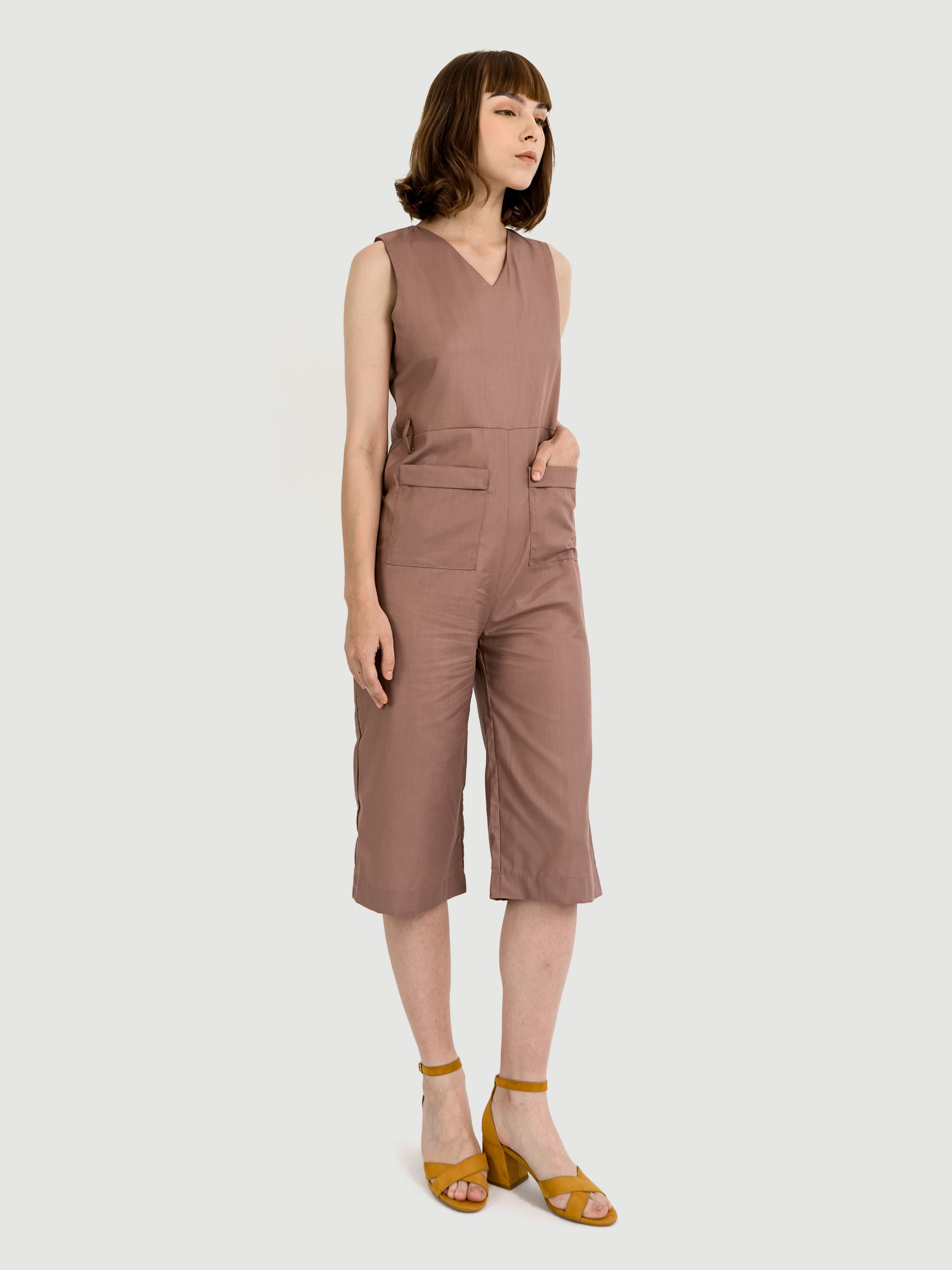 V-neck Cotton Pharlap Jumpsuit