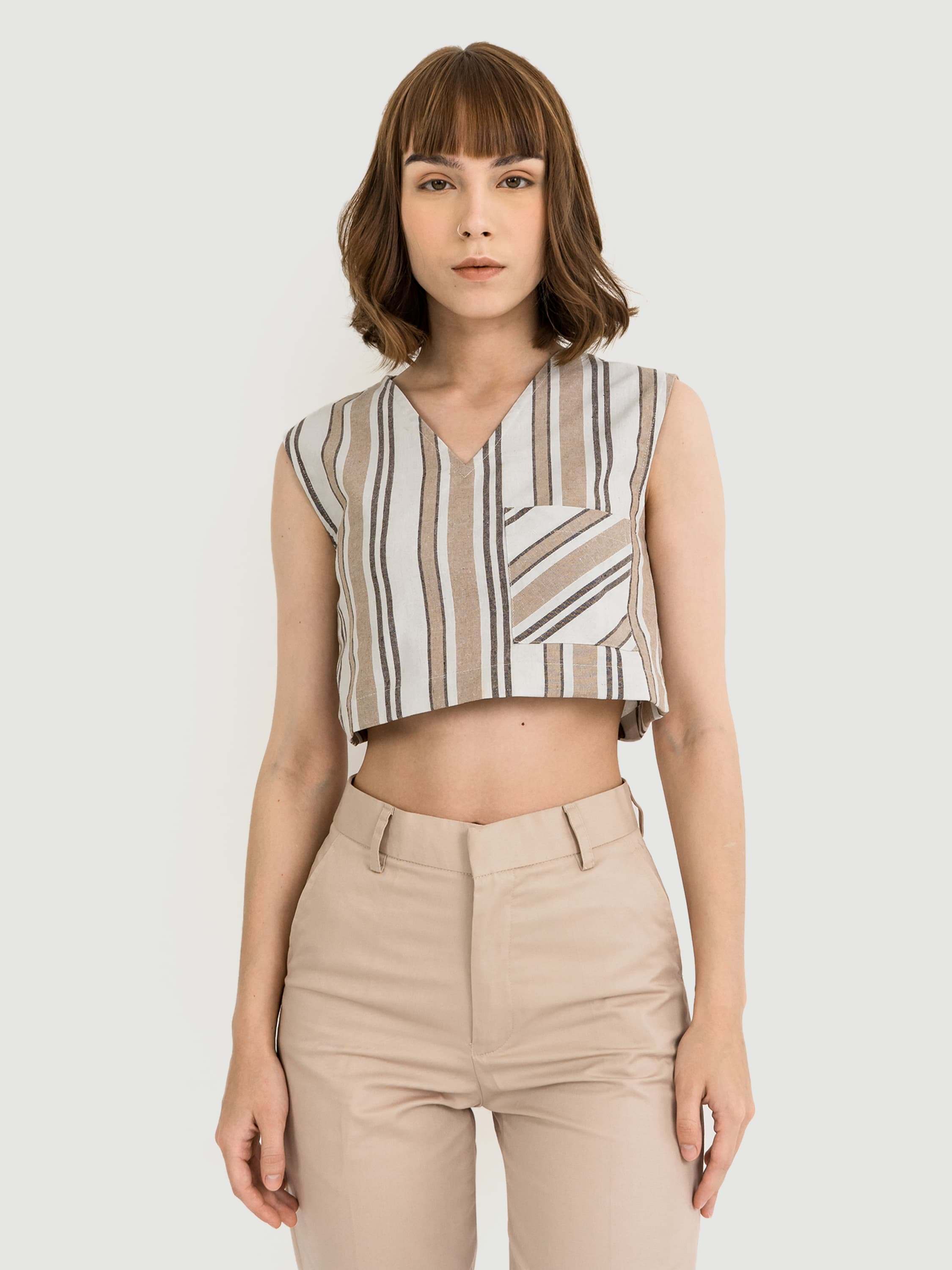 V-neck Stripes Crop Top