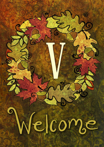 Fall Wreath Monogram V Image 1