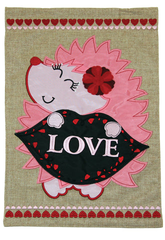 Love Hedgehog Burlap Flag Image