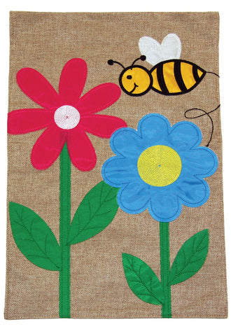 Flowers and Bees Burlap Flag Image