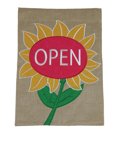 Open Flower Burlap Flag Image
