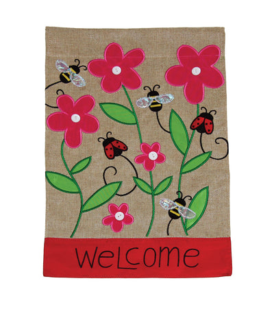 Bees and Ladies Burlap Flag Image