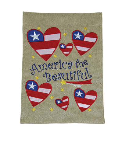 America the Beautiful Burlap Flag Image
