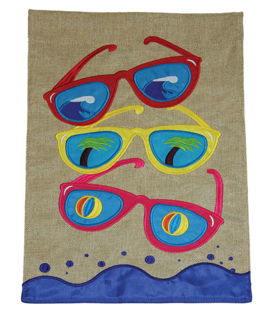 Cool Shades Burlap Flag Image