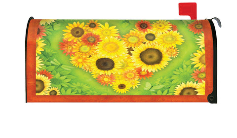 Sunflower Heart Mailbox Cover Image