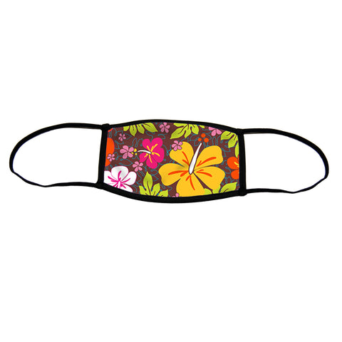 Aloha Flowers Small Premium Triple Layer Cloth Face Mask with Ear Loop Adjusters
