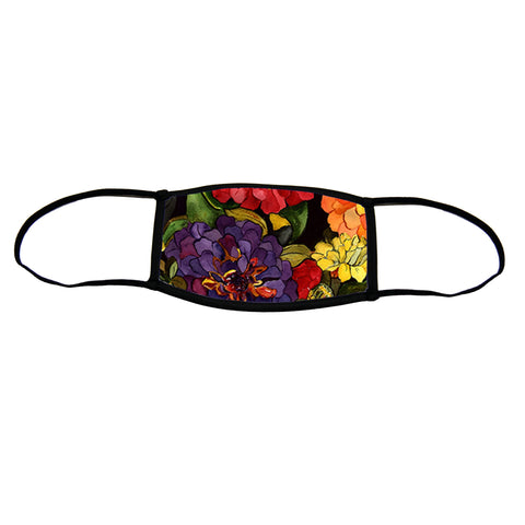 Zippy Zinnias Small Premium Triple Layer Cloth Face Mask with Ear Loop Adjusters