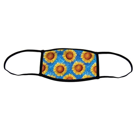 Sweet Sunflowers Small Premium Triple Layer Cloth Face Mask with Ear Loop Adjusters
