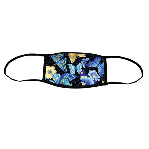 Blue Butterflies Small Premium Triple Layer Cloth Face Mask with Ear Loop Adjusters