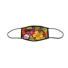 Aloha Flowers Medium Premium Triple Layer Cloth Face Mask with Ear Loop Adjusters