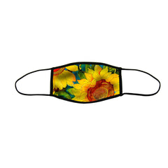 Sunny Sunflowers Large Premium Triple Layer Cloth Face Mask with Ear Loop Adjusters