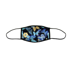 Blue Butterflies Large Premium Triple Layer Cloth Face Mask with Ear Loop Adjusters