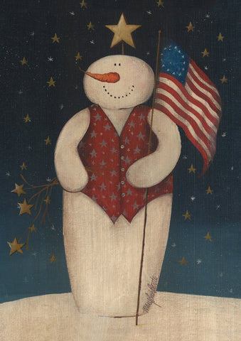 Flag Waving Snowman Image 1