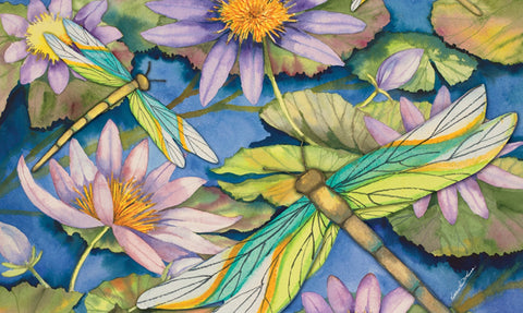 Waterlilies & Dragonflies Door Mat Image