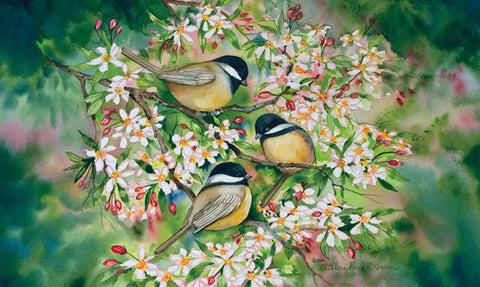 Sweet Chickadees Door Mat Image